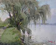 Falls Paintings - The Tree by Niagara River by Ylli Haruni