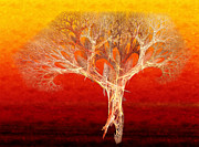 Abstraction Mixed Media Prints - The Tree In Fall At Sunset - Painterly - Abstract - Fractal Art Print by Andee Photography