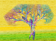 Abstraction Mixed Media Prints - The Tree In Spring At Midday - Painterly - Abstract - Fractal Art Print by Andee Photography