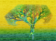 Stylized Mixed Media Posters - The Tree In Summer At Sunrise - Painterly - Abstract - Fractal Art Poster by Andee Photography