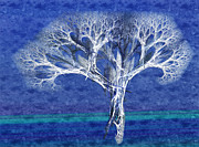 Stylized Mixed Media Posters - The Tree In Winter At Dusk - Painterly - Abstract - Fractal Art Poster by Andee Photography