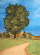 Lone Tree Pastels Prints - The Tree Print by Marna Edwards Flavell