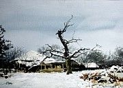 Spooky Scene Paintings - The Tree by Ron Bigony