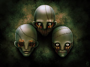 Heads Digital Art Prints - The Triad Print by Tony Christou