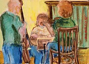 Music Pastels Originals - The Trio Practices by Tim  Swagerle
