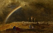 Rainbow Metal Prints - The Triumph at Calvary Metal Print by George Inness