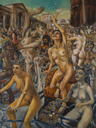 Satyr Paintings - The triumph of Bacchus and Ariadne in Covent Garden by Peregrine Roskilly