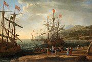 Famous Artists - The Trojan Women Setting Fire to Their Fleet by Claude Lorrain