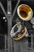 Bass Player Prints - The Tuba Cowboy II Print by Lee Dos Santos