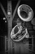 Bass Player Prints - The Tuba Cowboy Print by Lee Dos Santos