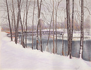 The Tulip Tree Bridge In Winter Print by Elizabeth Dobbs