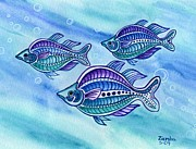 Lori Ziemba Framed Prints - The Turquoise Rainbow Fish Framed Print by Lori Ziemba