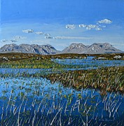 Connemara Paintings - The Twelve Bens Mountains Connemara Co galway Ireland by Diana Shephard