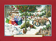Pear Tree Painting Posters - The Twelve Days of Christmas Poster by Lynn Bywaters