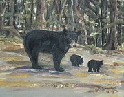Cubs Painting Originals - The Twin Cubs and Mama by Jan Dappen
