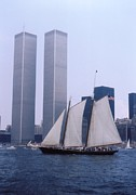 Bicentennial Prints - The Twin Towers With The Schooner America 4th july 1976 Print by Terence Fellows
