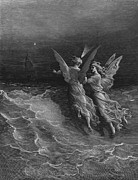 Flying Drawings Posters - The two fellow spirits of the Spirit of the South Pole ask the question why the ship travels  Poster by Gustave Dore