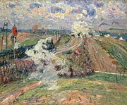 Industrial Painting Prints - The Two Trains Print by Jean Baptiste Armand Guillaumin