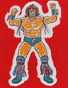 Wwf Painting Posters - The Ultimate Warrior Poster by Matt Molleur