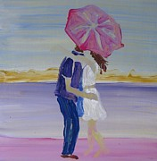Engagement Picture Prints - The Umbrella Kiss Print by Sue Collins