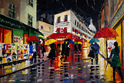 Facades Painting Posters - The Umbrellas Of Montmartre Poster by EMONA Art