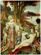 Moreau Paintings - The Unicorns by Gustave Moreau