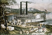 Slaves Posters - The United States 19th C..steamship Poster by Everett