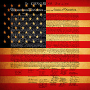 Declaration Of Independence Digital Art Prints - The United States Declaration of Independence - American Flag - square Print by Wingsdomain Art and Photography