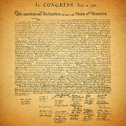 July 4 Digital Art Framed Prints - The United States Declaration of Independence - square Framed Print by Wingsdomain Art and Photography