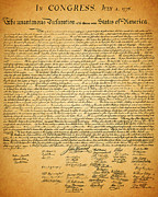 Fourth Of July Art Prints - The United States Declaration of Independence Print by Wingsdomain Art and Photography