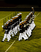 Haybales Photo Metal Prints - The United States Marine Corps Silent Drill Platoon Metal Print by Robert Bales