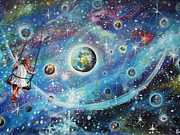 Child Swinging Painting Originals - The Universe is my Playground by Dariusz Orszulik