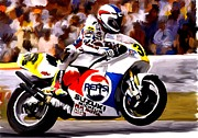 Road Drawings Posters - The Unleashing   Kevin Schwantz Poster by Iconic Images Art Gallery David Pucciarelli