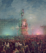 St Petersburg Prints - The Unveiling of the Nicholas I Memorial in St. Petersburg Print by Vasili Semenovich Sadovnikov