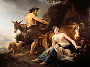 Baby Donkey Posters - The Upbringing of Zeus Poster by Nicolaes Pietersz Berchem