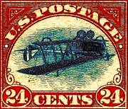 Stamps Prints - The Upside Down Biplane Stamp - 20130119 Print by Wingsdomain Art and Photography
