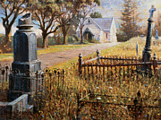 Catholic Art Painting Originals - The Upward Path  Waikumete Cemetery  Auckland by Graham Braddock