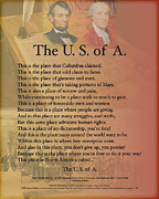 Dallas Digital Art Metal Prints - The USA Presidents Lincoln Washington Potery Art Print Metal Print by Stanley Mathis