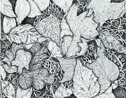 Blue And Gray Drawings - The Value of Fall by RK Hammock