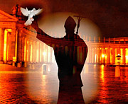 Joseph Frank Baraba Digital Art Prints - The Vatican Pope And Dove Print by Joseph Frank Baraba