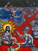 Politics Paintings - The Veneration of Counterfeit Gods by Paul Hilario