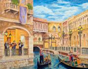 Nightclub Painting Framed Prints - The Venetian Canal  Framed Print by Vicki  Housel