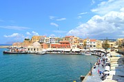 European Cafes Prints - The Venetian Harbor Of Chania Crete Greece Print by Ana Maria Edulescu