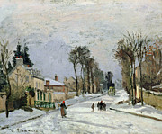 Snowfall Painting Framed Prints - The Versailles Road at Louveciennes Framed Print by Camille Pissarro