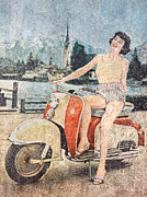 Enjoying Prints - The Vespa Lady Print by Martin Bergsma