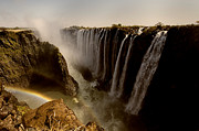 Zambia Waterfall Metal Prints - The victoria falls Metal Print by Nicole Cambre