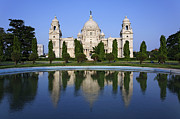 Calcutta Posters - The Victoria Memorial and reflection in Calcutta India Poster by Robert Preston