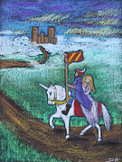 Extinct And Mythical Pastels Originals - The Victorious Return by Diana Haronis