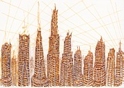 Skylines Drawings Originals - The View From the Haskins Building by J Michael Kilpatrick