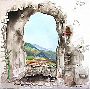 Ruins Mixed Media Originals - The View - Staufen by Michelle Strasser